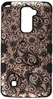 Asmyna Cell Phone Case for LG G Stylo 2 Plus - Black Four-Leaf Clover (2D Rose Gold)/Black