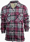 Men's Fleece Shirt Jacket with Sherpa Lining   Button Up Front   Classic Plaid (Large, Maroon)