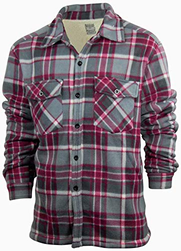 (Men's Fleece Shirt Jacket with Sherpa Lining | Button Up Front | Classic Plaid (XX-Large, Maroon))