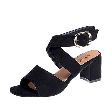 994d23703d61de Halijack Women Sandals Summer Open-Toed Block Heel Sandals Fasion Peep Toe  Ankle Strap High