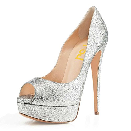FSJ Women Sexy Peep Toe Platform Pumps High Heels Formal Shoes for Office Ladies Size 11 Silver