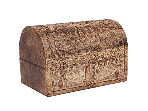 Hand Carved Wooden Keepsake Box Trinket Jewelry Storage Organizer with Tree of Life Motif Home Decor