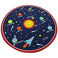 "HUAHOO Blue Solar System Kids Area Rug Educational Learning Carpet Fun Rug Children Area Rug for Playroom & Nursery - Non Skid Gel Backing (55"" Round, Round Solar System)"