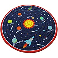 HUAHOO Kids Round Rug Solar System Learning Area Rug...