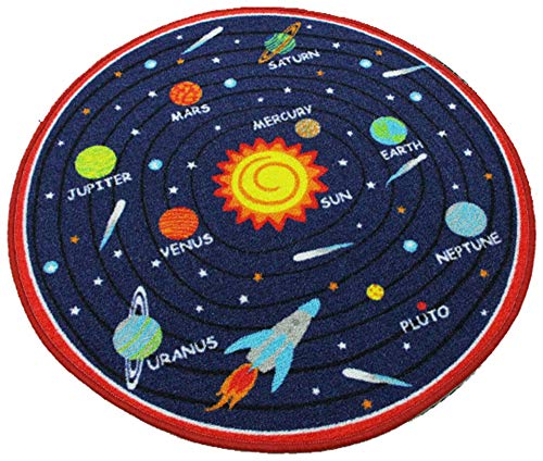 HUAHOO Kids Round Rug Solar System Learning Area Rug Children's Fun Area Rug - Non Slip Bottom (Solar System, 31