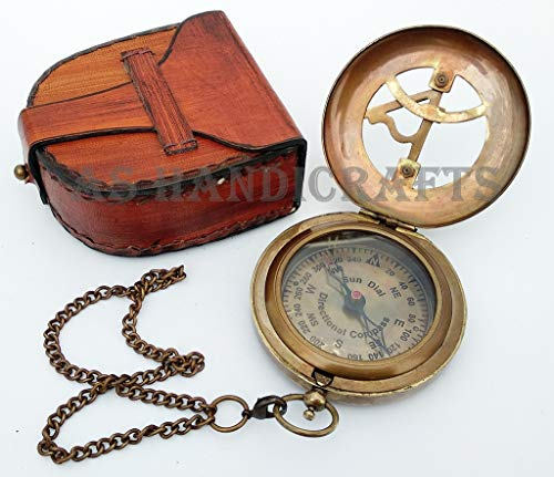(Antique Steampunk BRASS--SUNDIAL-COMPASS Sundial Watch with Leather case Sundial )