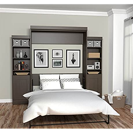 Bestar Furniture 70883 79 Queen Wall Bed With Two 21 Storage Units And Doors In Dark