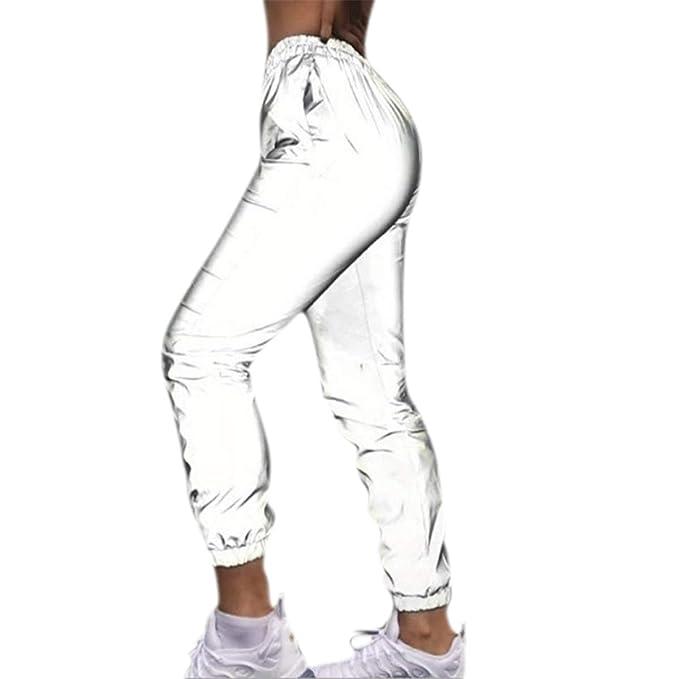 Amazon.com: Pantalones reflectantes para mujer, informales ...