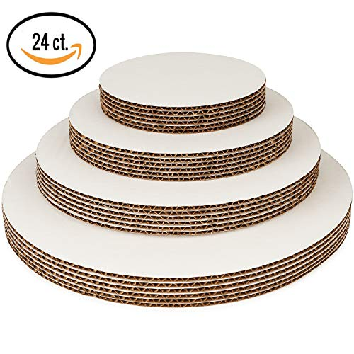 - Round Cake Boards By Pro Dispose – Set Of 24 White Cake Circles – 6 Of Each Size Cake Rounds (6, 8, 10 & 12 Inches) – Ideal For Cake Decorating & Multi-Tier Stacked Cakes – Slip Resistant & Food Safe