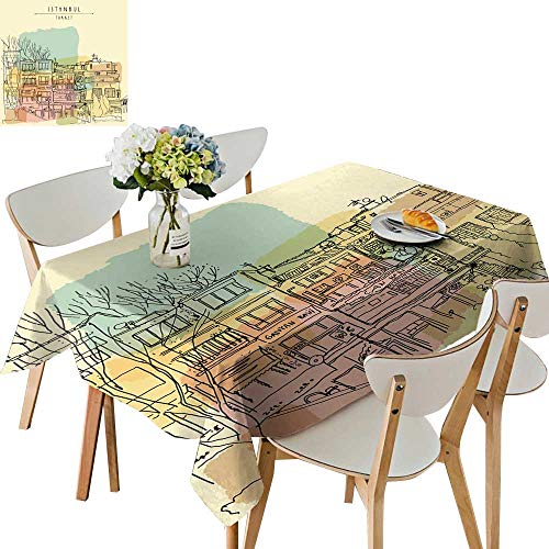 UHOO2018 Square/Rectangle Polyester Tablecloths Center in ist bul Turkey Residential Builds line Art freeh Fuitable for Home use,50 x111inch