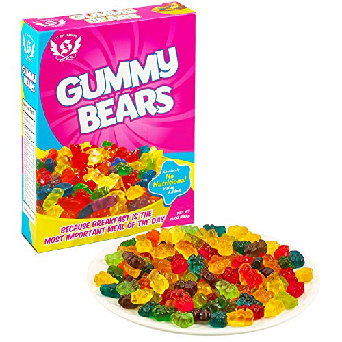 Kicko 24 oz. Gummy Bears Candy Fruity - 1 Box of Assorted Fruit-Flavored Candy Suckers for Party Favors, Cake Decorations, Novelty Supplies or Treats for Halloween, Christmas, Baby Showers]()