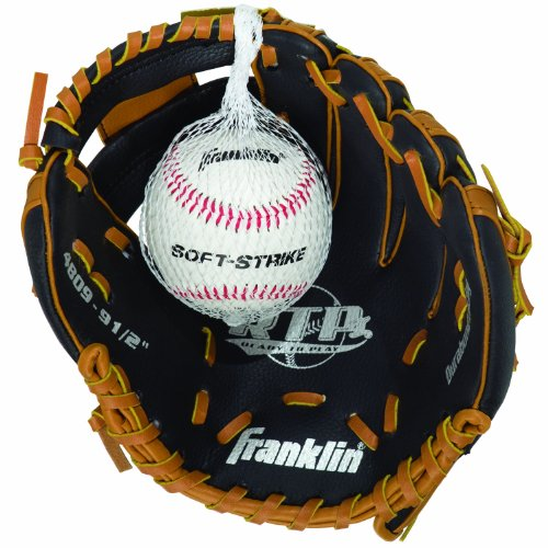Franklin Sports RTP Teeball Performance Gloves & Ball Combo, Black/Tan, 9.5