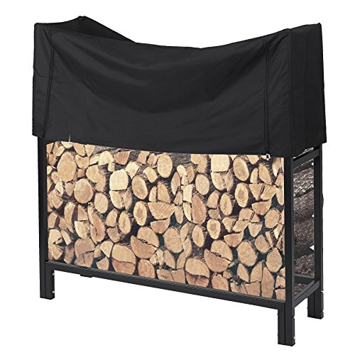 Pinty Ultra Duty Outdoor Firewood Rack with Cover 4 Foot Fireplace Wood Holder by Pinty