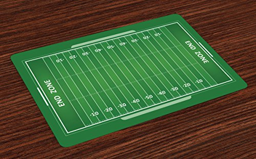 Lunarable Football Place Mats Set of 4, Field of the Game Strategy Tactics End Zone Touchdown Sports Competition Theme, Washable Fabric Placemats for Dining Room Kitchen Table Decoration, Green White
