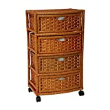 Storage Unit On Wheels Handmade With Drawers - Mobile Rolling Organizer Cart Natural Fibers - Best For Office, Bedroom, Laundry Room Bundle w Anti-slip Accessory Pad (Natural)