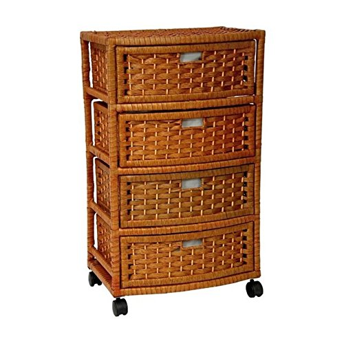 Storage Unit On Wheels Handmade With Drawers - Mobile Rolling Organizer Cart Natural Fibers - Best For Office, Bedroom, Laundry Room Bundle w Anti-slip Accessory Pad (Natural) 4 Drawer Dresser Honey