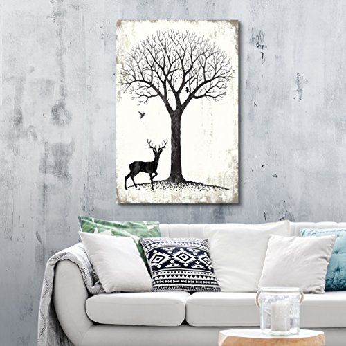 Abstract Landscape with Tree and Birds and a Deer