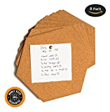 Hexagon Cork Tiles - Cork Board, Pin Board, Bulletin Board, 8 Pack Including Double Sided Adhesive and 12 Push pins