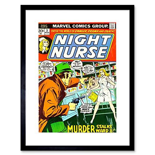 Comic Book Night Nurse Murder STALKS Ward Eight Crime Frame Art Print F12X248