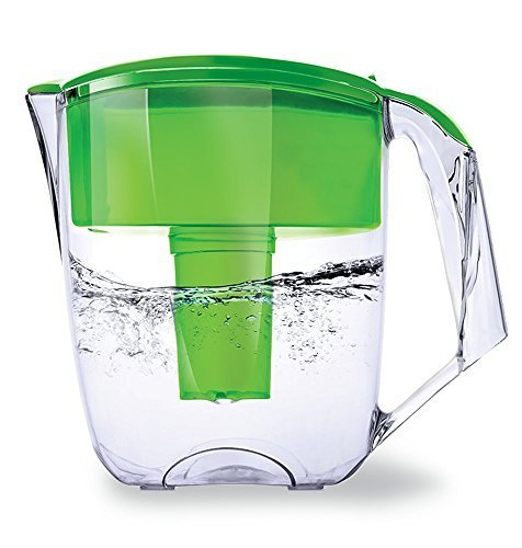 Ecosoft Water Filter Pitcher Jug - BPA-Free - Patent Commercial Grade Ecomix Filter Cleaners - 8 Cups Purified Water, 10 Cup Capacity with 1 Free Cartridge for Home Filtration, Green by Ecosoft