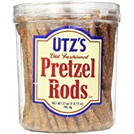 Utz Old Fashioned Pretzel Rods – 27 oz. Barrel – Thick, Crunchy Pretzel Rod, Perfect for Dipping and Snacks, Zero Cholesterol Snack Food