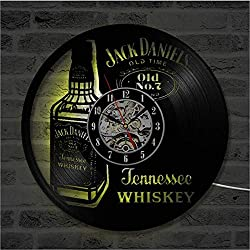 Wall Clock Vinyl Record Clock Upcycling LED Jack Daniels Family Decoration 3D Design Clock Living Room Bedroom Restaurant Wall Deco Black Ø: 30 cm