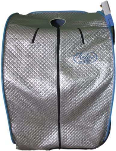 Smartmak Far Infrared EMF Sauna, Portable Personal Full Body Detox Weight Loss SPA Tent with Heating Foot Pad and Portable PGRADE Chair- Blue Border