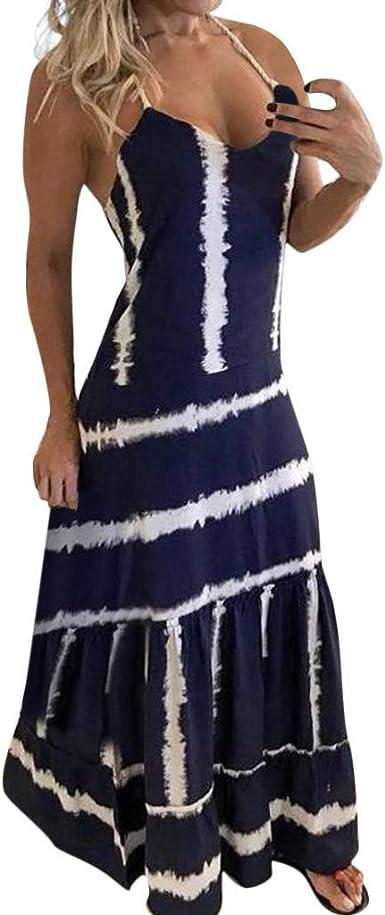 Gusspower Mujeres Elegante Vestido Bohemio Algodón Casual Suelto ...