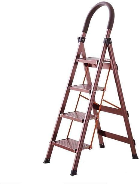 Conveniente para los varios escenarios Cuatro pasos de aleación de aluminio de escalera, escalera de tijera de seguridad Barandilla rojo de doble finalidad del hogar Buenos materiales son la base de l: