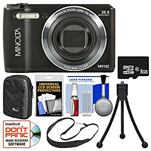 Minolta MN12Z OIS 12x Zoom Wi-Fi Digital Camera with 8GB Card + Case + Flex Tripod + Sling Strap + Kit