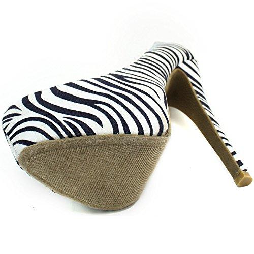 DailyZapatos Mujeres Extreme High Fashion Punta Estrecha Hidden Platform Sexy Stiletto Zapatos De Tacón Alto Pump Zebra Suede