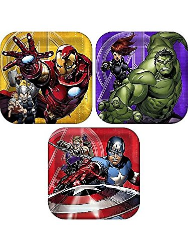 Avengers Assemble NEW Birthday Party Dessert Cake Plates (8 per (7' Square Dessert Plates)