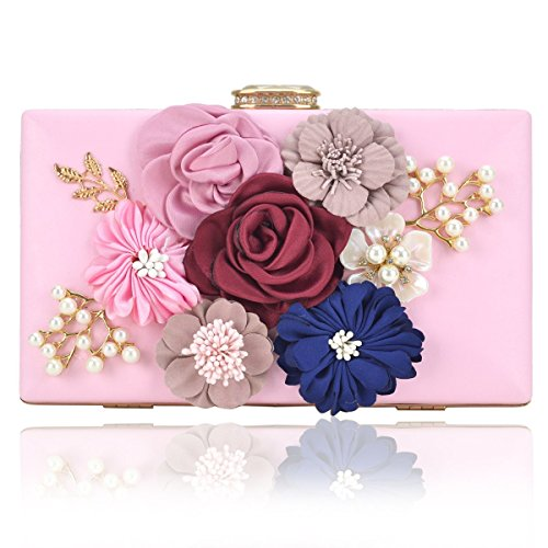 Women Flower Clutches Handbags Designer Evening Bags Prom Party Wedding Cocktail Purses with Pearls Beaded (Pink)