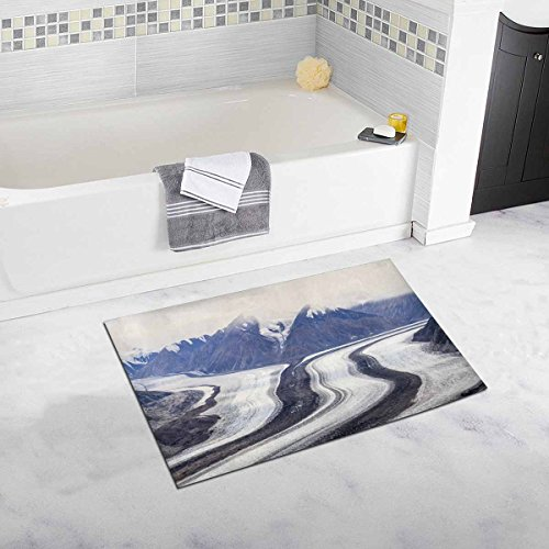 InterestPrint Moraine of Kaskawulsh Glacier in Kluane National Park, Yukon Territory, Canada As Seen From Observation Mountain Bath Mat Soft Bathroom Rugs Non-slip Rubber 20W X 32L - Parks Yukon In National
