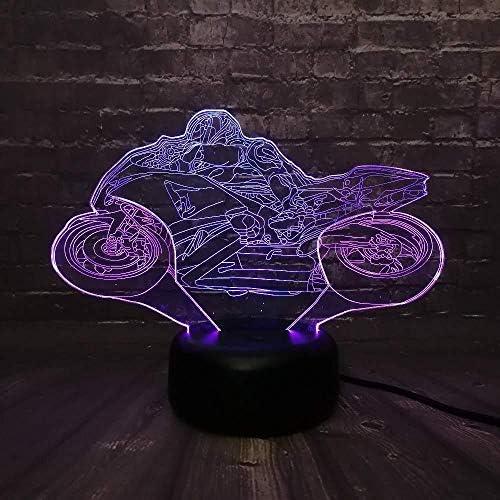 3D-illusie-lamp, LED, 3D, nachtlampje, USB, motocyle, USB, touch, man, nachtlampje, 3D, LED, tweekleurig, voor baby\'s, sleep light boy cartoon kid basis met afstandsbediening USB