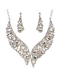 Retro New Metallic Crystal Rhinestone Bead Choker Necklace Earring Set