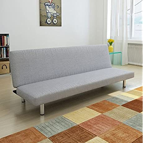SKB Family Light Gray Convertible Sofa Bed Modern Style Upholstery Couch Furniture