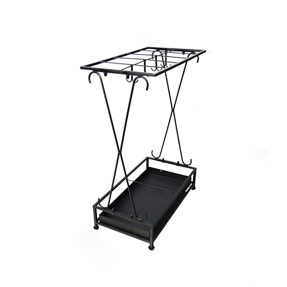 Umbrella Stands Iron With Drip Tray/8 Hooks Hotel Lobby Floor Standing Long/Short Umbrella Rack (Color : Black)