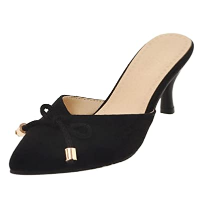464a55822ed JOJONUNU Women Fashion Kitten Heel Mules Sandals Closed Toe Black Size 34  Asian