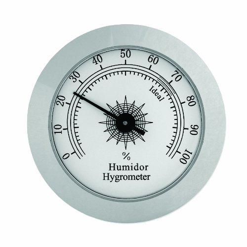 Hygrometer Cigar Analog (Analog Hygrometer HYG-75S Polished Silver Finish Hygrometer)