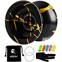 MAGICYOYO New Design N11 Alloy Aluminum Professional Yoyo Unresponsive YoYo ball (Black With Golden) with Bag, Glove and 5 Strings