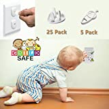 Outlet Plug Covers Baby Proofing, MBigtree Child Proof Electrical Protector Safety Caps Kit (25 Plug Covers + 5 Keys)