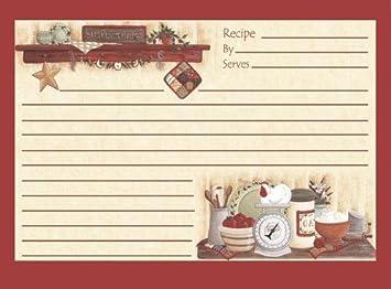 Juego de 18 tarjetas de recetas para cocina, 4 x 6, diseño ...