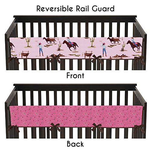 (Western Cowgirl Long Front Rail Guard Baby Girl Teething Cover Protector Crib Wrap)