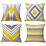 Modern Simple Geometric Style Cotton Linen Burlap Square Throw Pillow Covers, 18 x 18 Inches, Set of 4 (Yellow-Gray)