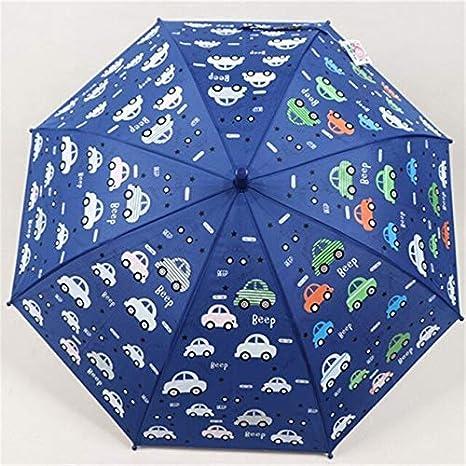 T-M Paraguas ni/ños Azul Cambio de Color del Paraguas for los ni/ños Animales de la Historieta del Ni/ños Lluvia de Kawaii Lindo Paraguas Impreso Color : Dark Blue