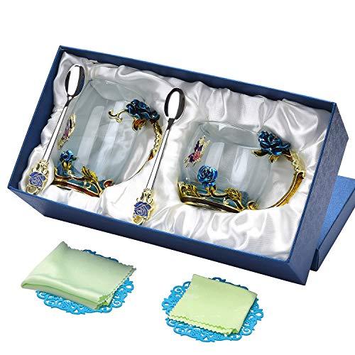 ral Glass Coffee Mug Tea Cup Set Valentines Day Birthday Christmas Gift for Wedding Couple 05 ()