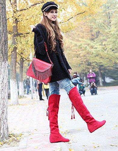 De Rouge 41 Chaussures Mode Fourrure 5 Cuissardes Big Femme Chauds Plat Plus 34 Bottes Genou Hiver Neige Taille 5 Les wqHtYxtzg