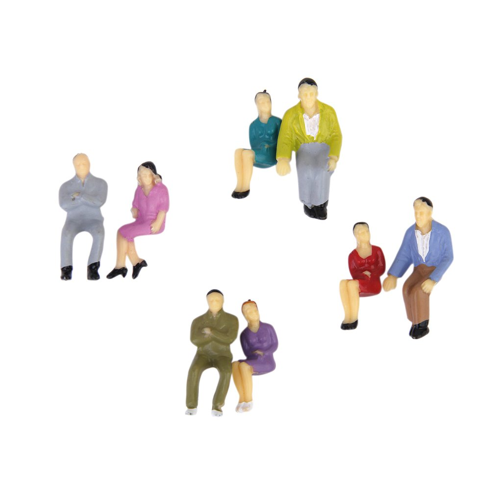 50pcs Seated People Passengers Figures Painted Model Train 1:50 O Scale