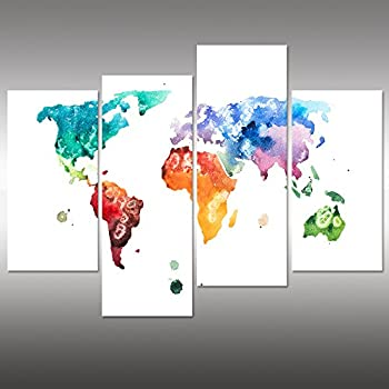 Amazon world map canvas art water color map poster printed on visual art decor large watercolor world map wall art canvas prints creative map painting poster prints home wall decor ready to hang 48x32 watercolor gumiabroncs Choice Image